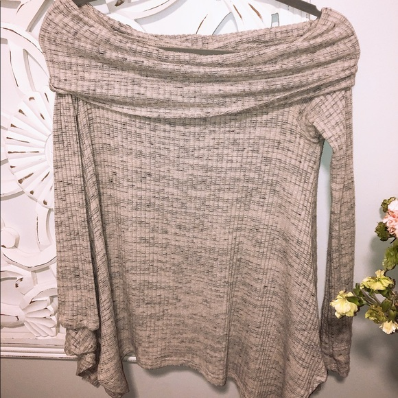 Sage Sweaters - Sage off the shoulder sweater